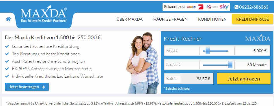 Kredit ohne Schufa bei Maxda